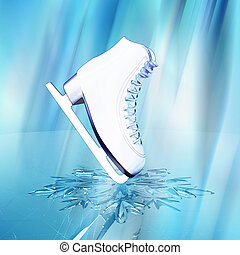 Close up view of The skates for figure skating and a...