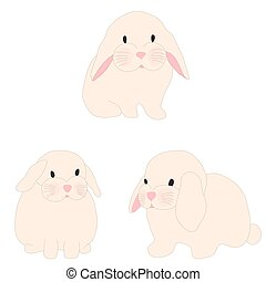 cute rabbit illustration set for baby fashion