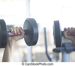 Gym exercise dumbell free weights - Female gym exercise...