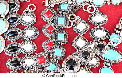 Jewelry necklaces and bracelets for sale at flea market