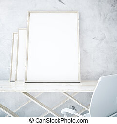 Empty picture frames on table - Three empty picture frames...