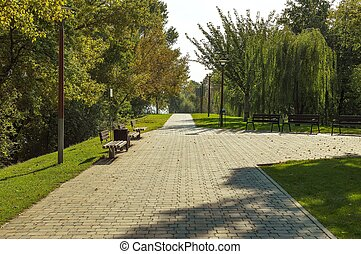 otoño, ciudad, parque, paisaje