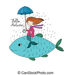 Beautiful little mermaid under an umbrella floating in the big fish.
