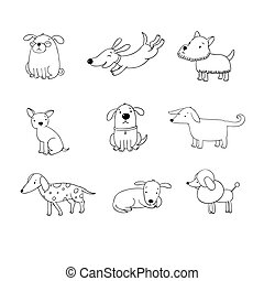 Set of funny cartoon dogs. Hand drawing isolated objects on...