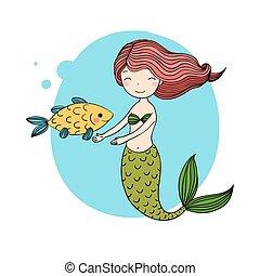 Beautiful little mermaid and fish. Siren. Sea theme.Hand...