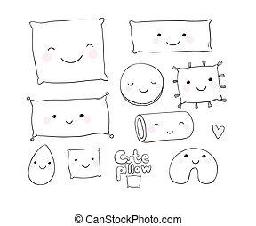 Set of cute cartoon pillows.