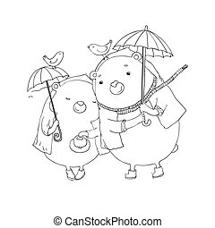 Cute teddy bear under an umbrella. Autumn theme. Hand...