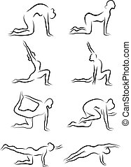 Set of sketches of silhouettes of yoga asanas. The girl is...