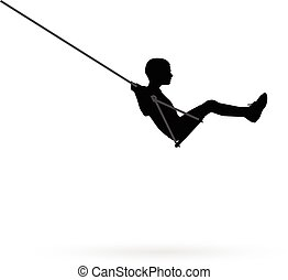 Boy swinging on a swing