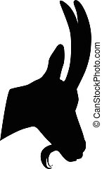 Chamois portrait silhouette vector illustration isolated