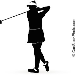 woman golf player - Vector silhouette of a woman golf player