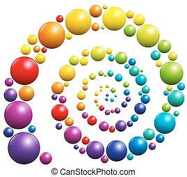 Spiral Colorful Balls - Spiral with colorful balls on white...