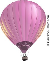 Pink big air balloon with basket flies. Isolated on white...