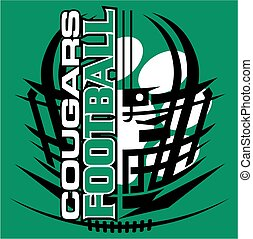 cougars football - tribal cougars football team design with...