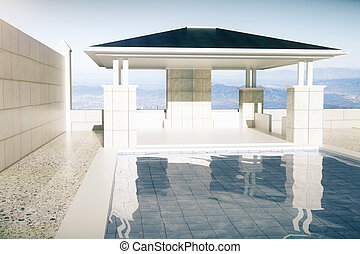 Luxurious swimming pool with patio front - Luxurious...