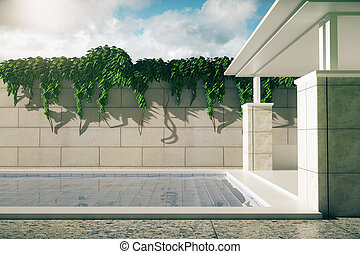 Luxurious pool with patio sideview - Side view of luxurious...
