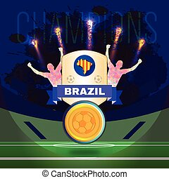 Digital vector, football and soccer brazil champions, gool,...