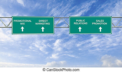 Direction road sign with  words promotional mix,direct marketing,sales promotion