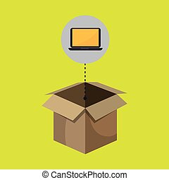 box computer laptop vector illustration eps 10