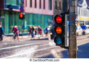 Crossroads with traffic lights in the city. Riga -...