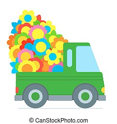 Cute green cartoon car making a flower delivery with the...