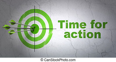 Timeline concept: target and Time For Action on wall...