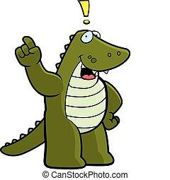 Alligator Idea - A happy cartoon alligator with an idea