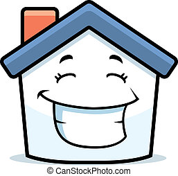 House Smiling - A cartoon little house smiling and happy