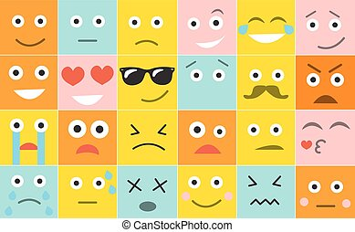 Set square emoticons with different emotions, vector illustration