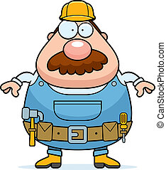 Handyman Standing - A cartoon handyman with a mustache...