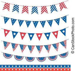 Set of different garland with flag ribbons. American...
