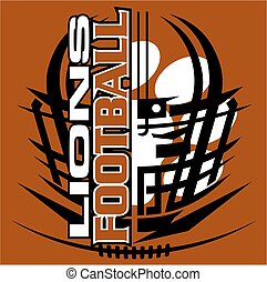 lions football - tribal lions football team design with...