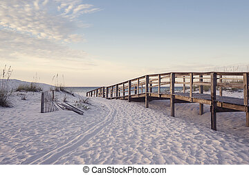 Beach Boardwalk Rosy Dawn - Wooden beach boardwalk through...
