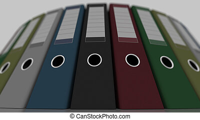 Colored office binders, low angle wide shot, shallow focus....