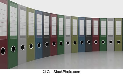 Row of office binders. Good for reports and presentations....