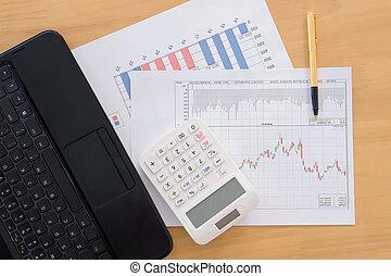 finanziario, Calcolatore, tabelle,  laptop, penna, vario, tavola