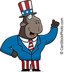 Patriotic Ape - A happy cartoon ape in a patriotic suit