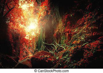 Fantasy tropical jungle forest in surreal colors Concept...