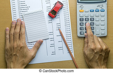 Man planning monthly budget, Finance about car concept