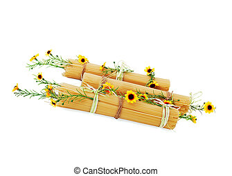 italian spaghetti decorated with yellow flowers - Uncooked...