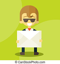 Set of businessman holding letter characters poses ,...