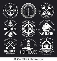 Nautical Emblem Set On Black - Nautical emblem set white on...