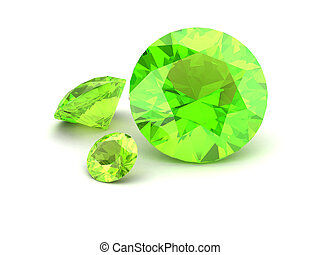 Shiny white Peridot illustration (high resolution 3D image)...