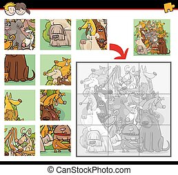 jigsaw puzzle task with dogs - Cartoon Illustration of...