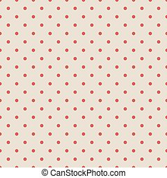 Red vintage polka dot seamless pattern on fabric texture.