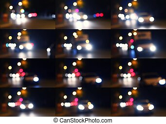 Set of blurred traffic with bokeh light abstract background....