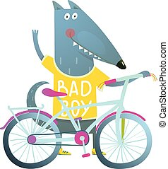 Baby Boy Wolf or Dog Character Greeting with Bicycle cute sport cartoon for kids