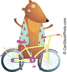 Baby Teddy Bear Character with Bicycle cute sport cartoon...