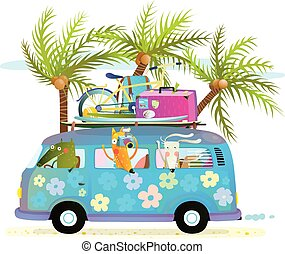 Holiday summer bus with beach tropical vacation tourists baby animals and palms