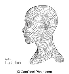 Head of the Person from a 3d Grid. Human Wire Model. Polygon...